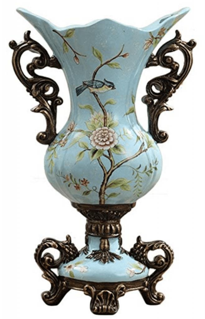 Jarrón Chino de porcelana azul claro con pájaro en una rama