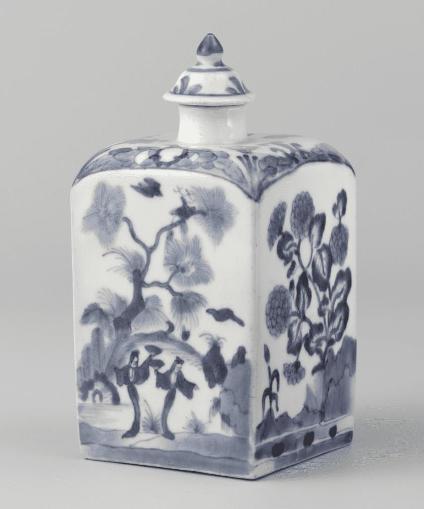 Pequeño jarrón de porcelana o recipiente azul y blanco Chino