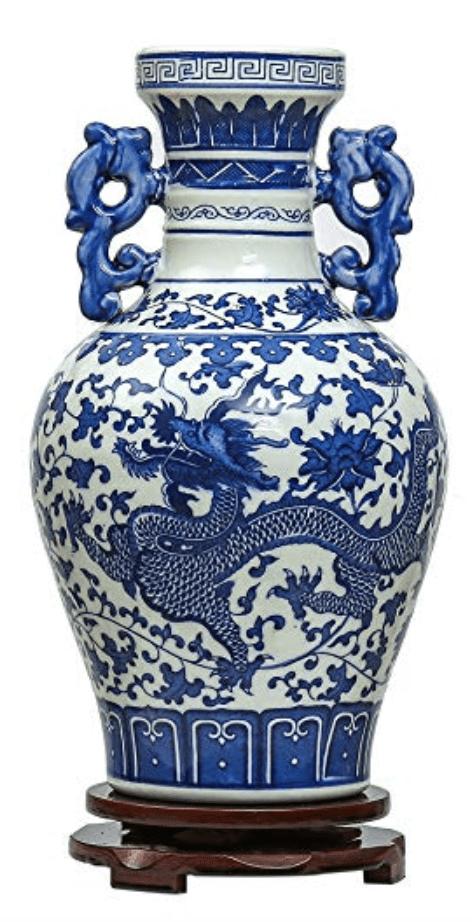 Jarrón Chino grande azul y blanco con dragones