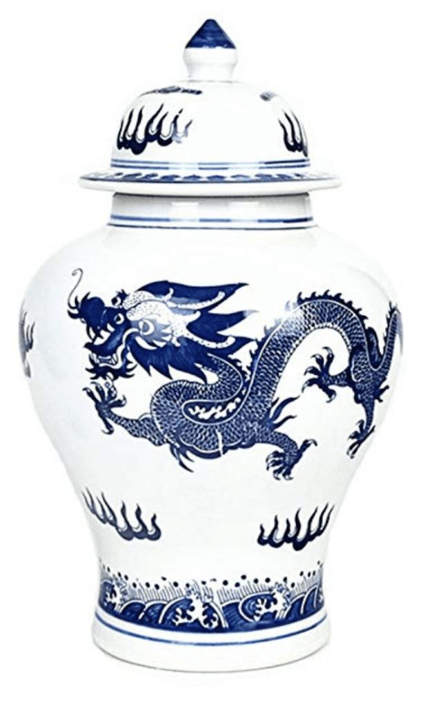 Jarrón Chino con tapa y con dibujo de dragón