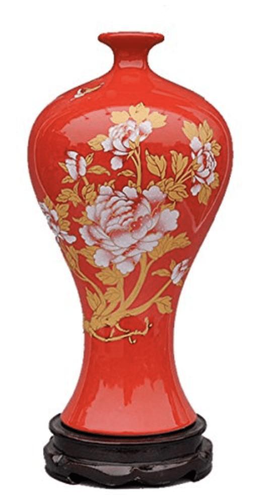 Jarrón chino rojo con flores amarillas
