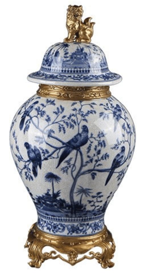 Jarrones chino azul con tapa azules