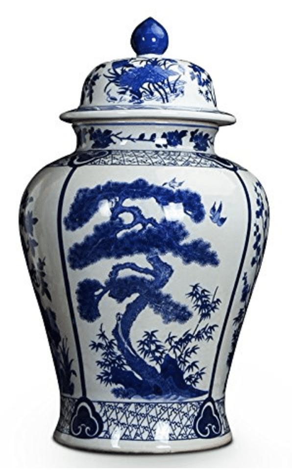 Jarrón chino con tapa blanco y con arboles