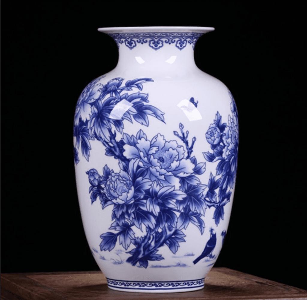 Jarrón chino con campanillas azules