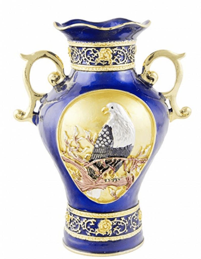 Pequeño jarrón chino de porcelana azul con águila y dorado