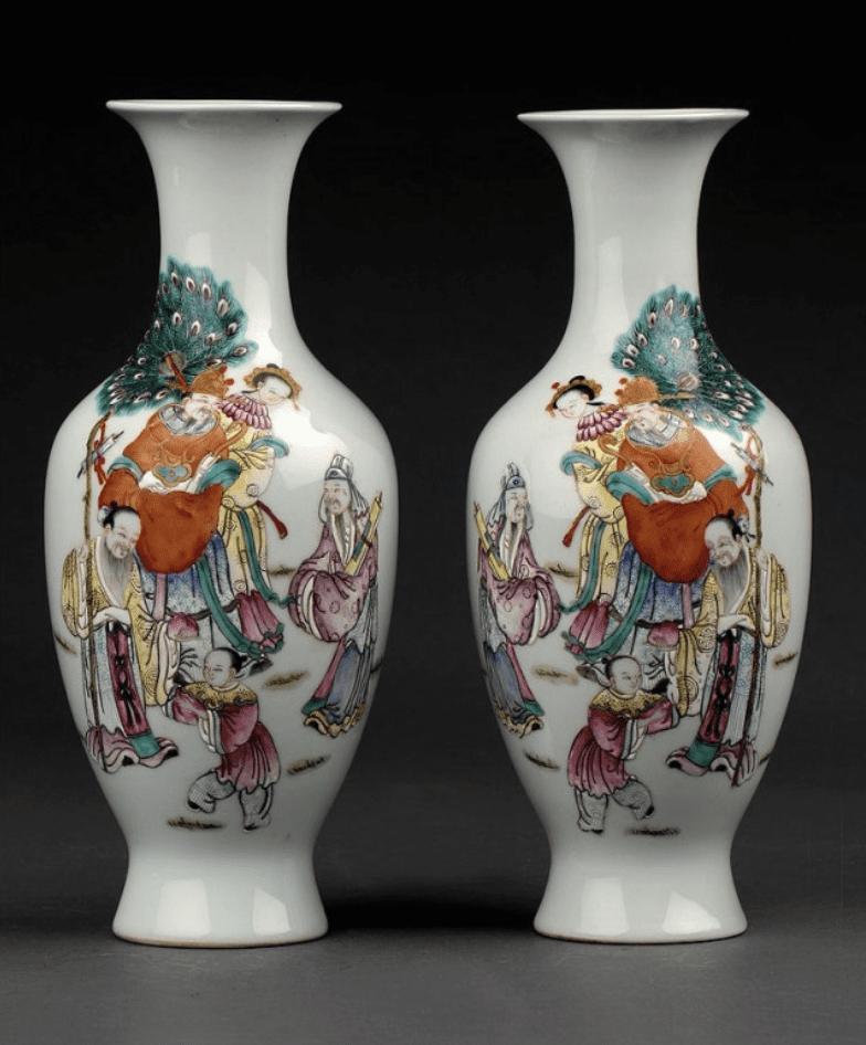 Jarrones Chinos de porcelana porcelana jingdezhen con personas andando