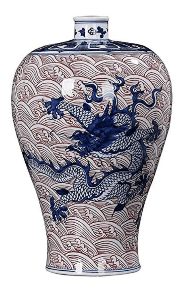 Jarrón de dragón Chino rojo y azul