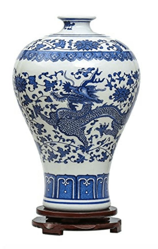 Jarrón chino sin tapa, grande, ancho, alto y azul