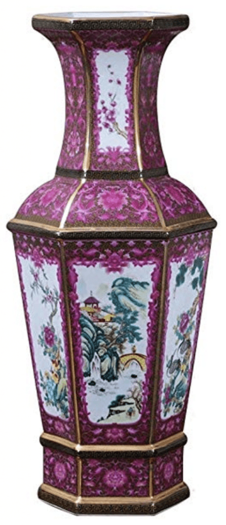 Pequeño jarrón chino rosa con pájaros y dragones