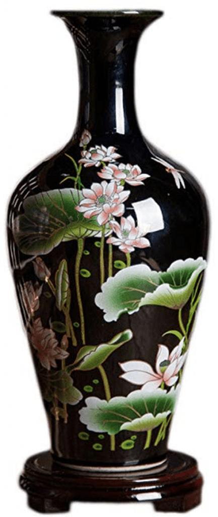 tibore chino negro con flores negro pequeño