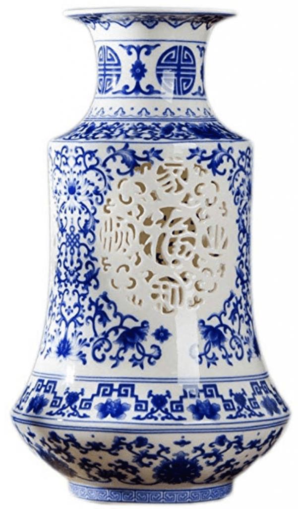Gran jarrón azul y blanco