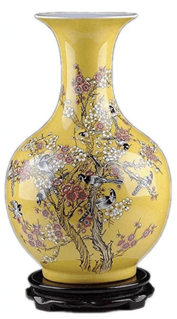Jarrón pequeño chino amarillo con pájaros y cuello estrecho