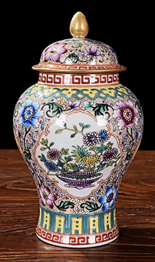 Jarrón chino con tapa grande de flores y colores