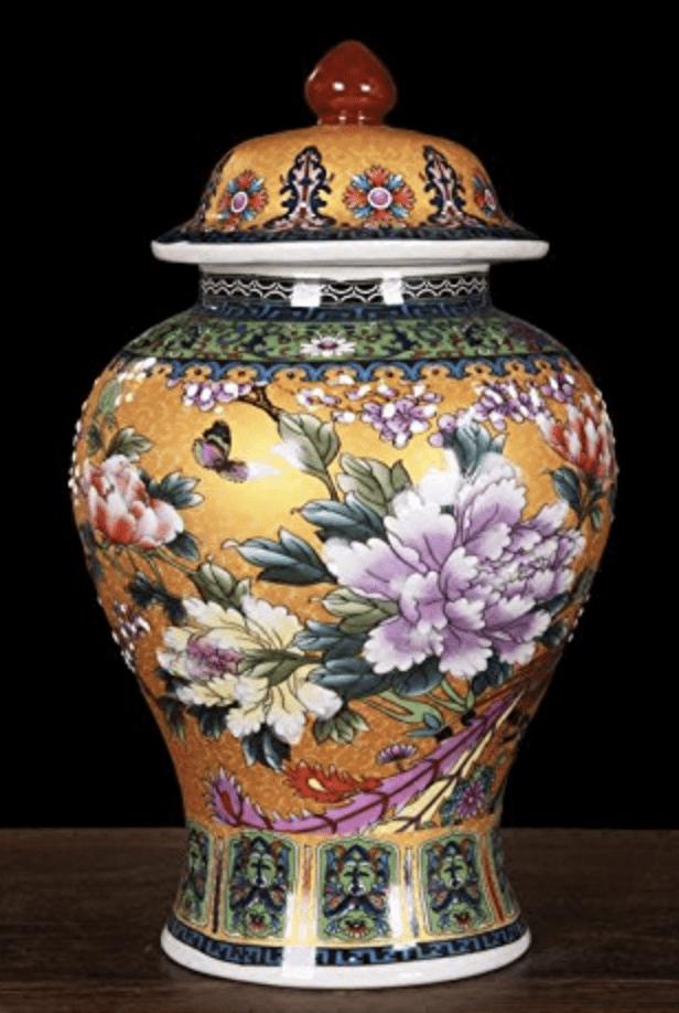 Jarron chino arcaico amarillo con tapa y flores