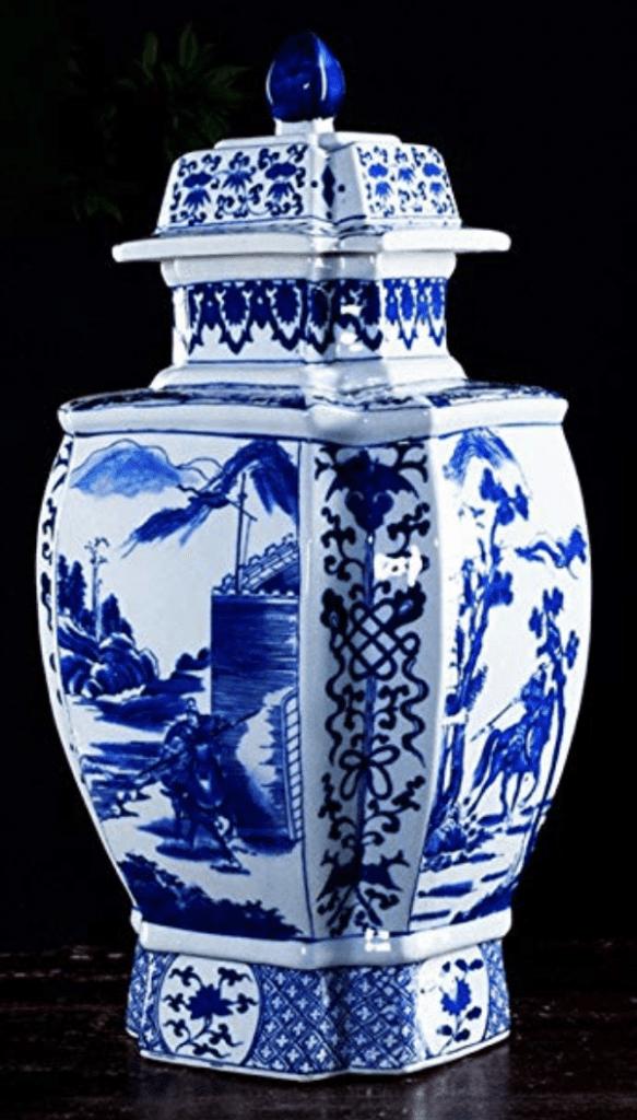 Jarrón chino azul con tapa