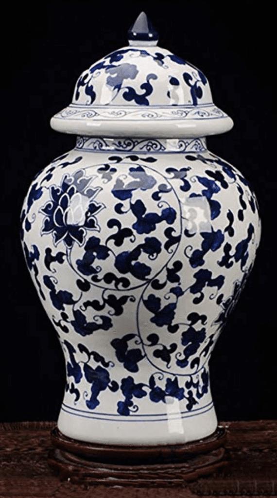 Jarrón chino azul y blanco con tapa