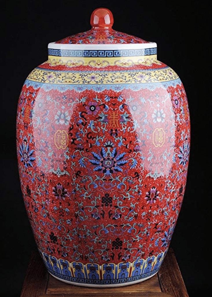 Jarrón chino grande y rojo con tapa