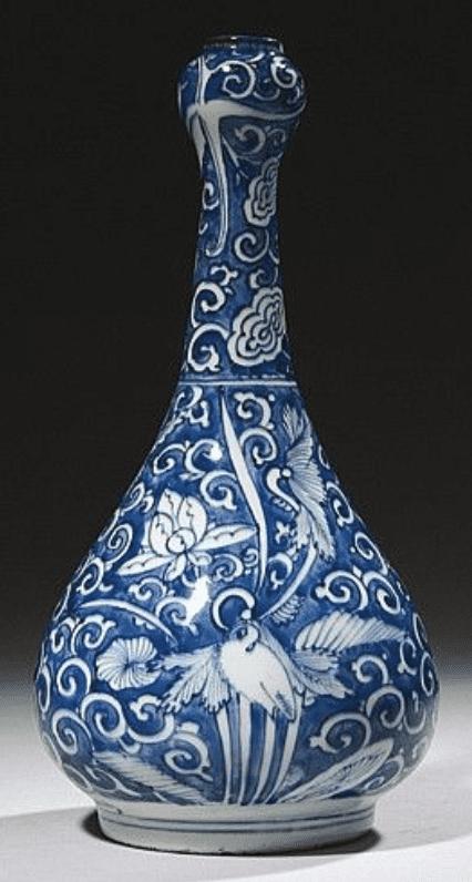 Jarrón de porcelana jingdezhen con jazmines azul de cuello estrecho de Porcelana o cerámica china Jingdezhen
