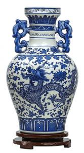 Jarrones chinos grandes de color azul y con dragones