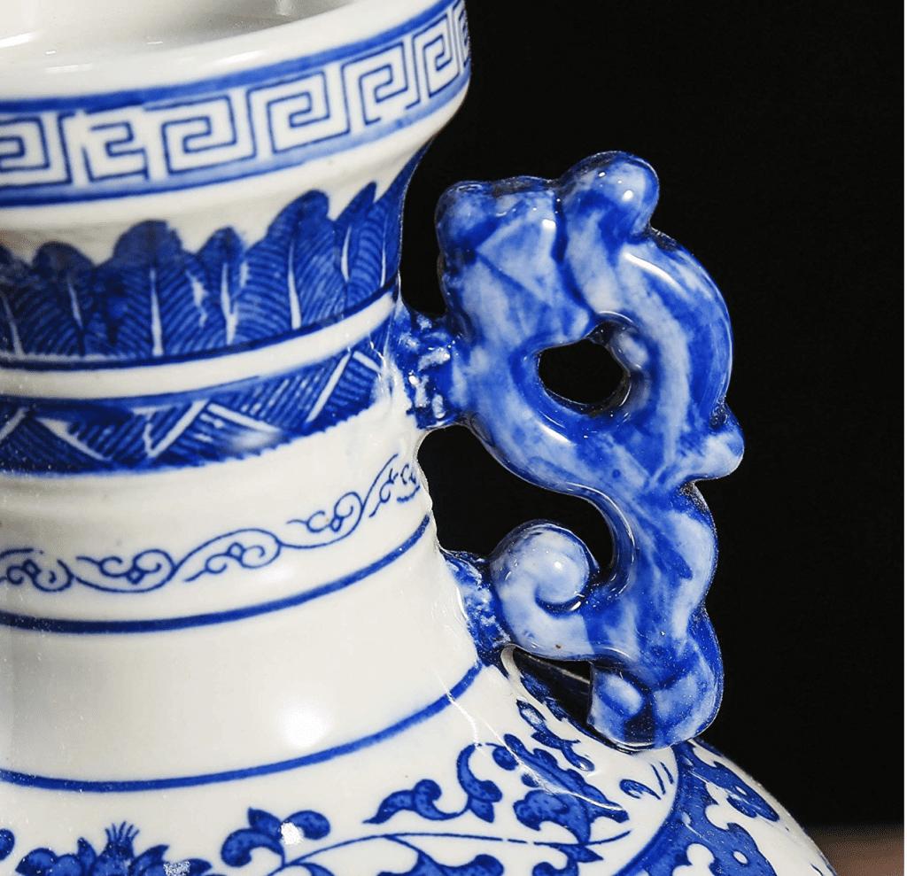jarron chino grande azul y blanco