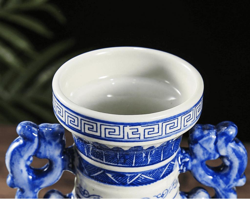 Boca de jarra china azul y blanca de grandes dimensiones