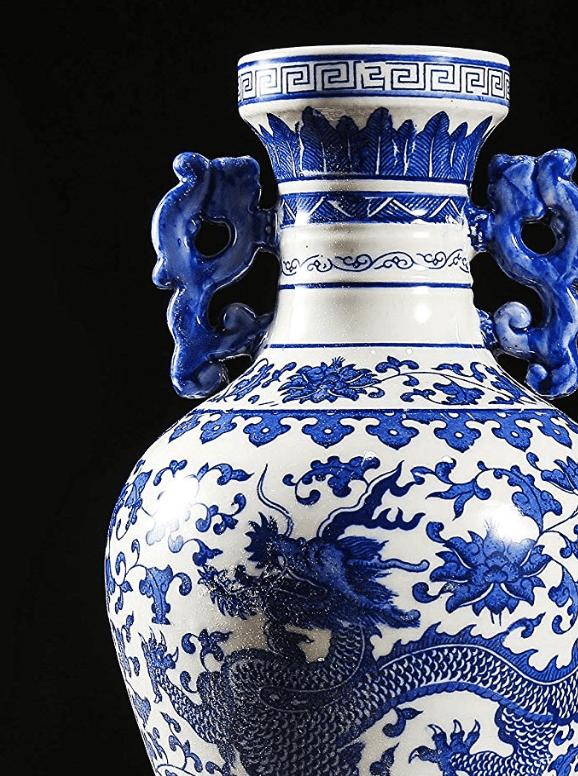 gran jarron chino de porcelana azul con dragones