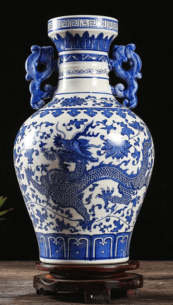 jarron chino azul y grande de porcelana